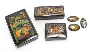 Group of Russian Black Lacquer Boxes and Pins