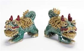 Pair of Chinese Sancai Glazed Pottery Temple Lions