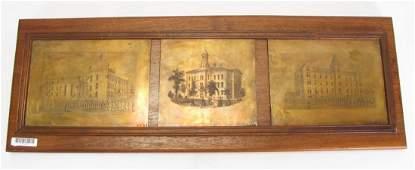 Framed Antique Copper Printing Plates