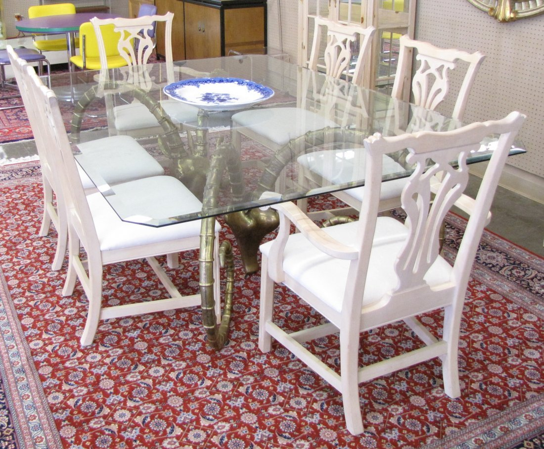 Leon Francois Chervet Ram's Head Dining Table, Chairs - 2