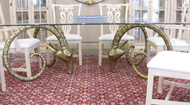 Leon Francois Chervet Ram's Head Dining Table, Chairs - 4