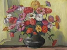Francis F Brown 14x18.5 O/B Still Life, Flowers