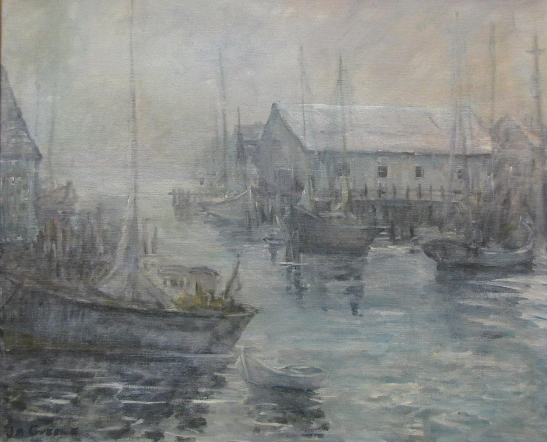 J.M. Greene 24x29 O/B Fishing Boats at Harbor