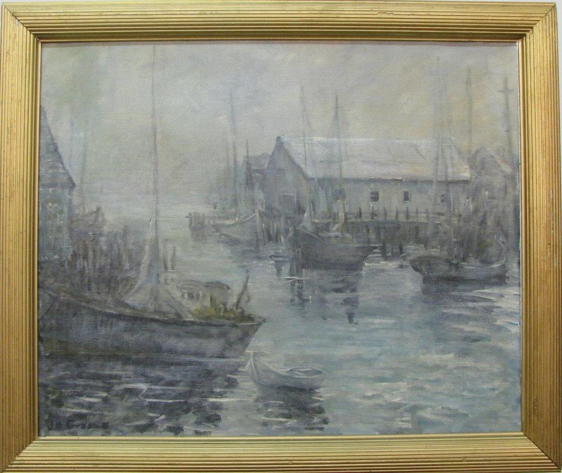 J.M. Greene 24x29 O/B Fishing Boats at Harbor - 2