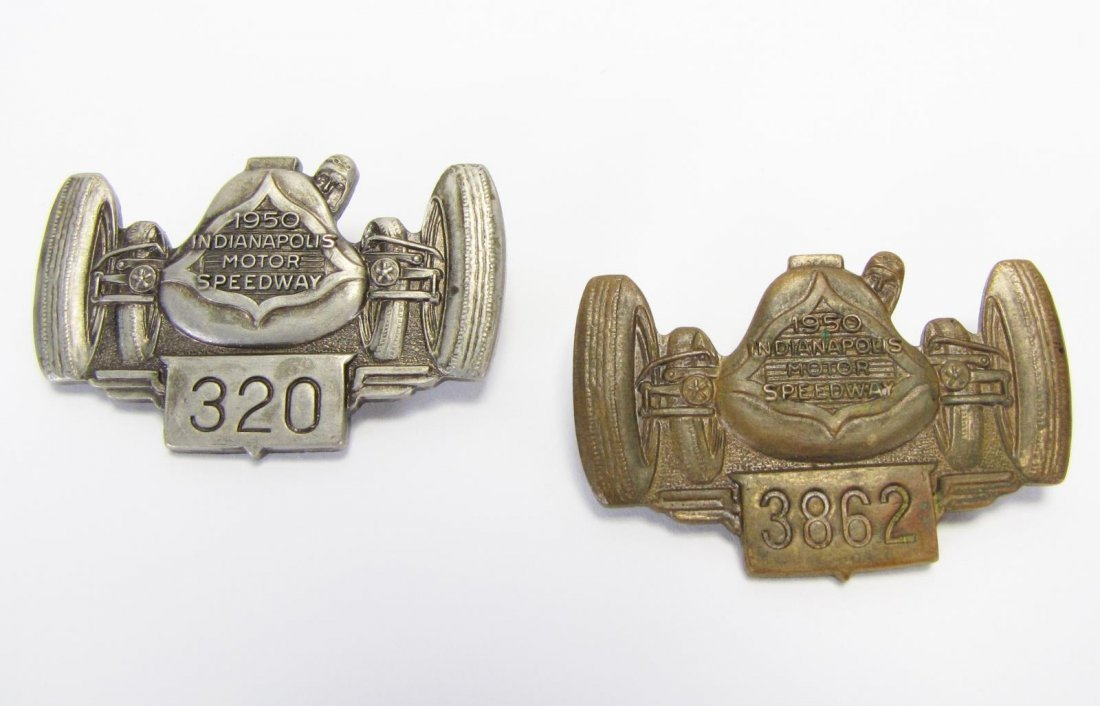 Two 1950 Indianapolis 500 Pit Badges