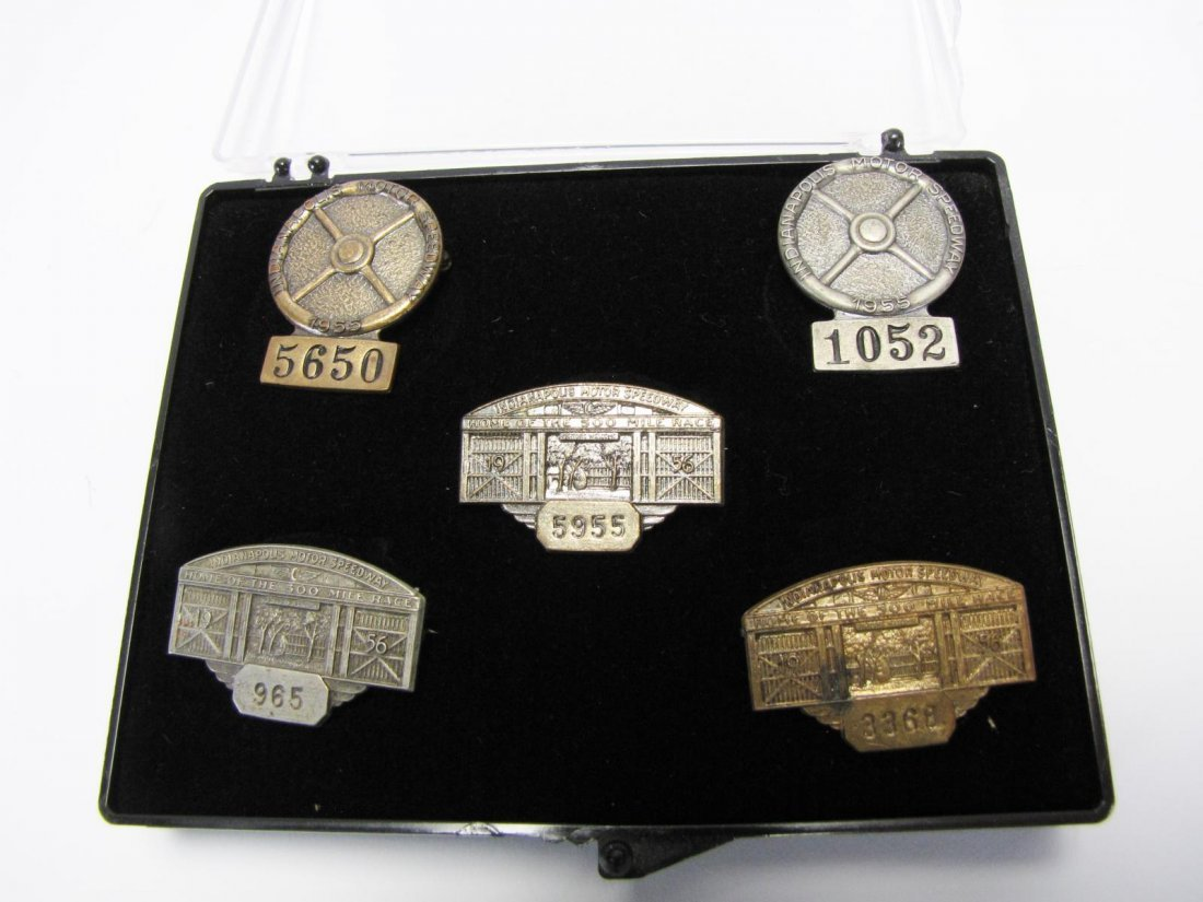 Five 1955 and 1956 Indianapolis 500 Pit Badges