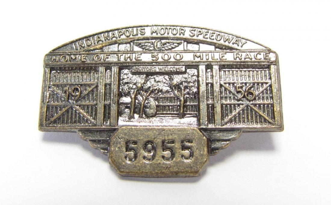 Five 1955 and 1956 Indianapolis 500 Pit Badges - 5