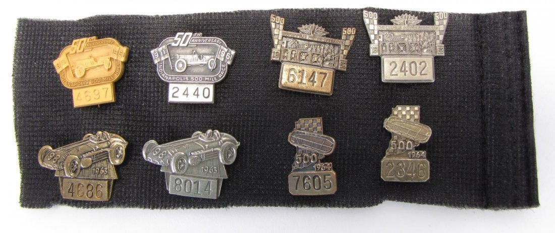 Eight 1961-1964 Indianapolis 500 Pit Badges