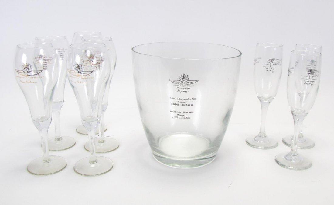 Tony Hulman Indianapolis 500 Wine Bucket & Glasses