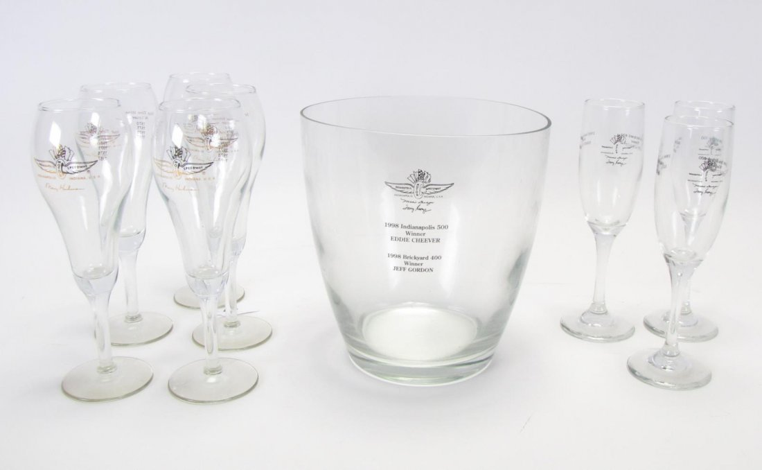 Tony Hulman Indianapolis 500 Wine Bucket & Glasses