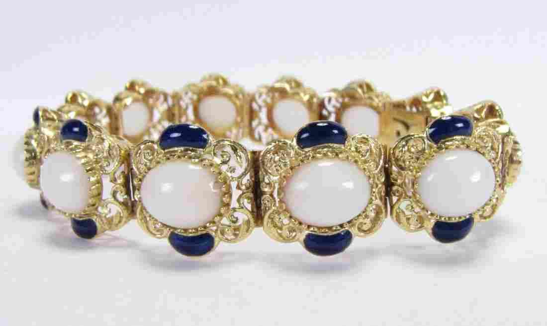 18K Yellow Gold White Jade and Enamel Bracelet