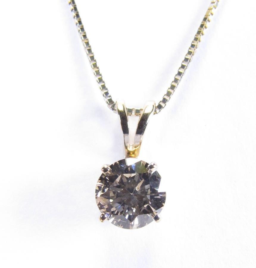 14K Yellow Gold Diamond Solitaire Pendant, Chain