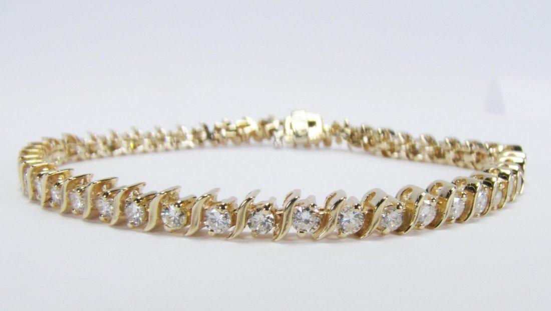 14K Yellow gold Diamonds S Link Bracelet