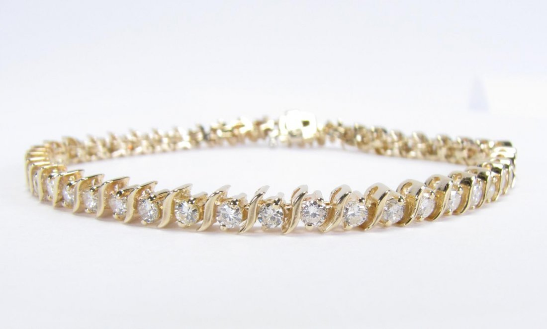 14K Yellow gold Diamonds S Link Bracelet - 2