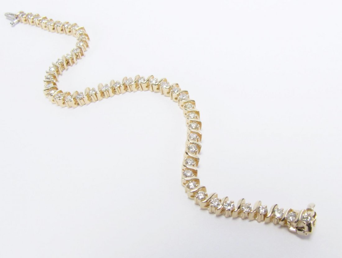 14K Yellow gold Diamonds S Link Bracelet - 3