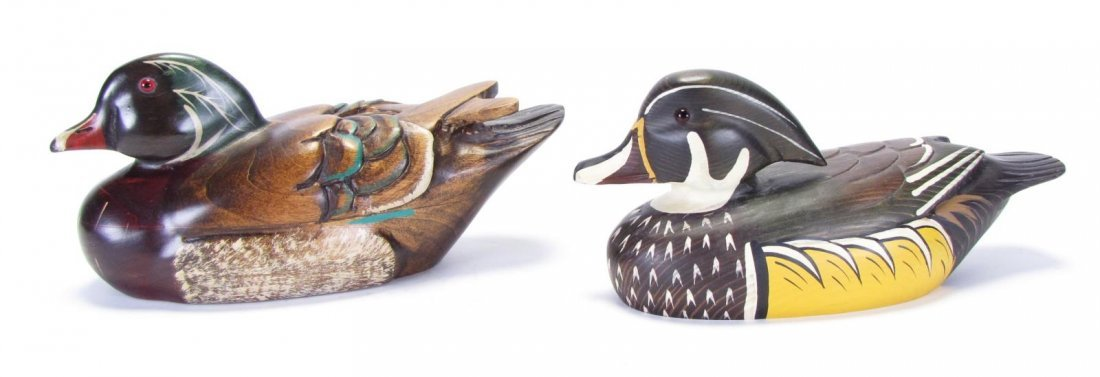 Two Wood Carved Duck Decoys