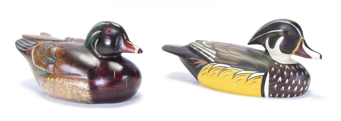 Two Wood Carved Duck Decoys - 2