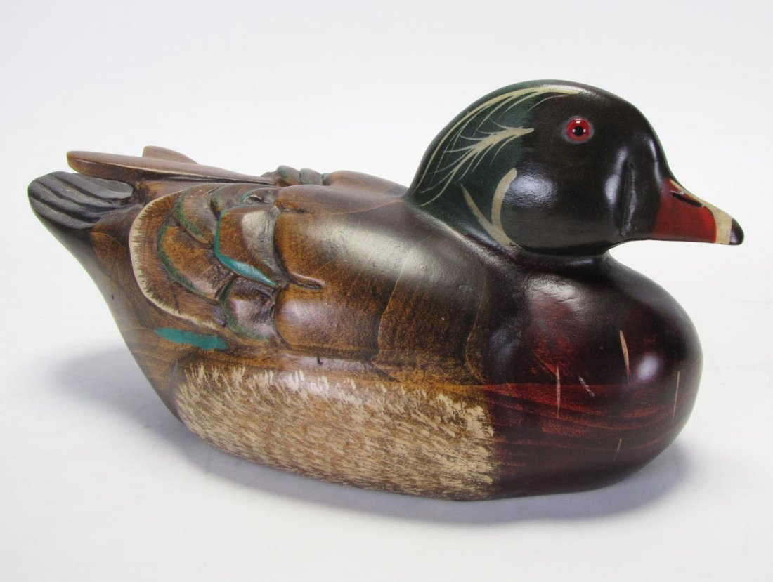 Two Wood Carved Duck Decoys - 6