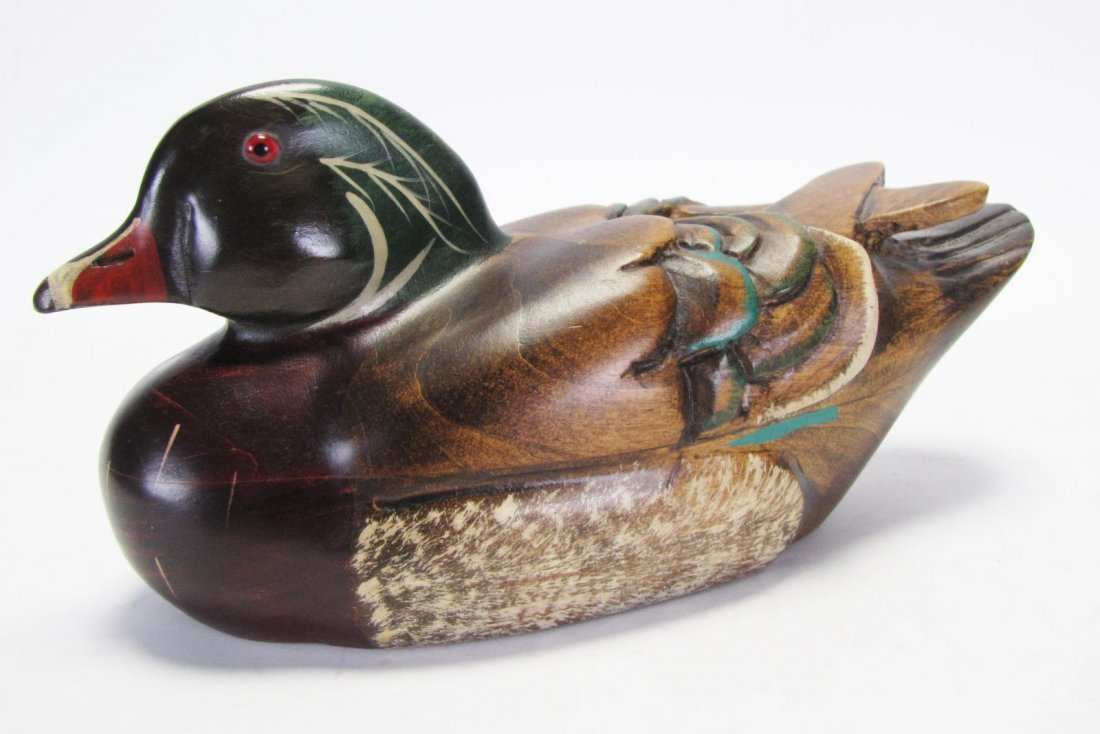 Two Wood Carved Duck Decoys - 7