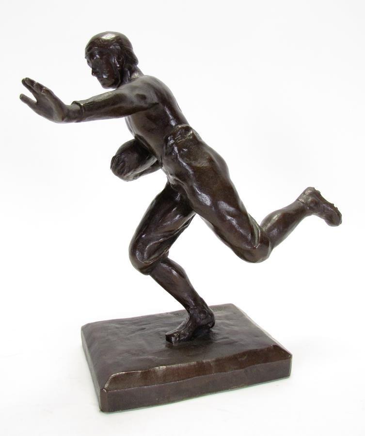 Antique M.W. Pratt Bronze Football Sculpture