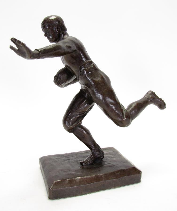 Antique M.W. Pratt Bronze Football Sculpture