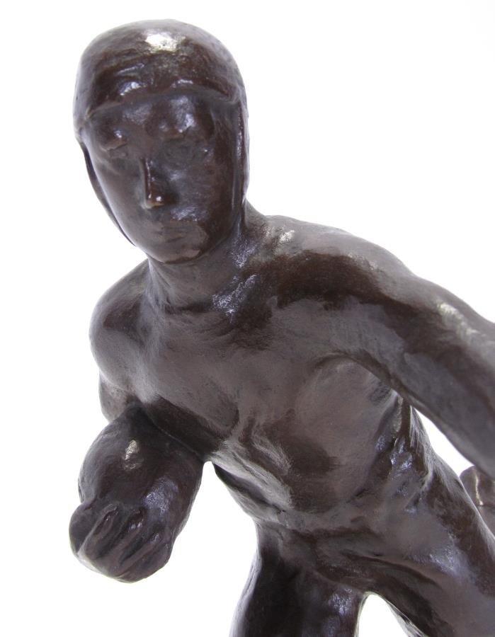Antique M.W. Pratt Bronze Football Sculpture - 5