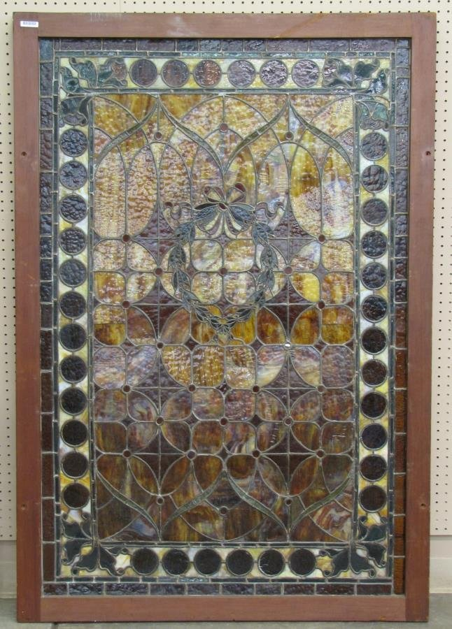 Antique Framed Stained Glass Window