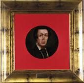 Antique Portrait 9 round OB Benjamin Disraeli