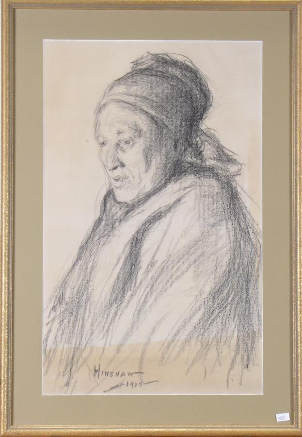 Glen C Henshaw 21x13 Charcoal Portrait of Woman