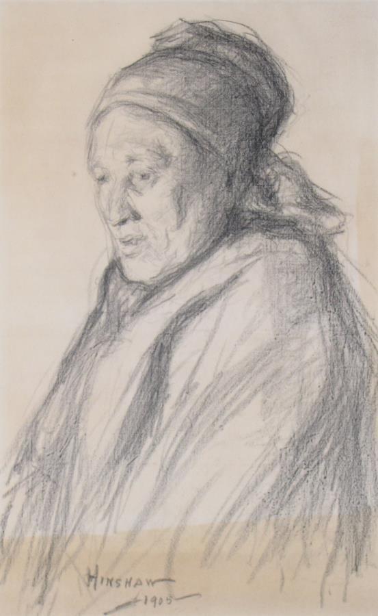Glen C Henshaw 21x13 Charcoal Portrait of Woman - 2