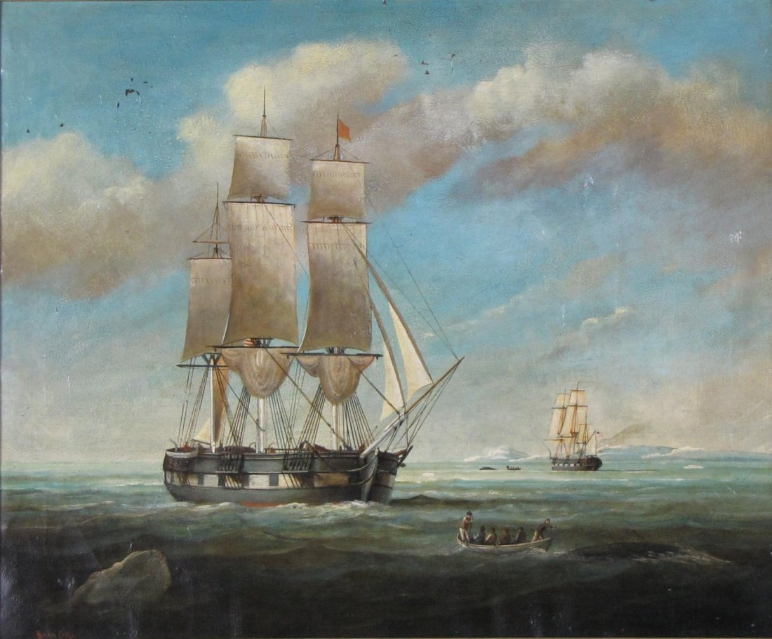Brian Coole 20x24 O/C Whalers at Sea