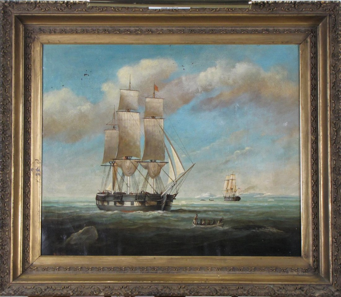 Brian Coole 20x24 O/C Whalers at Sea - 2