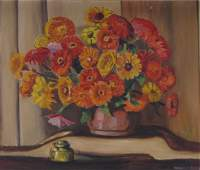 Francis F Brown 24x28 O/B Still Life, Floral