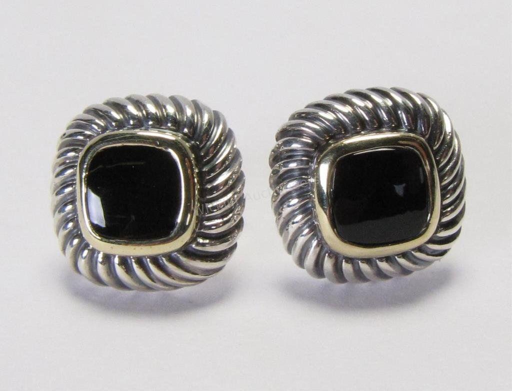 14K and Sterling David Yurman Onyx Earrings