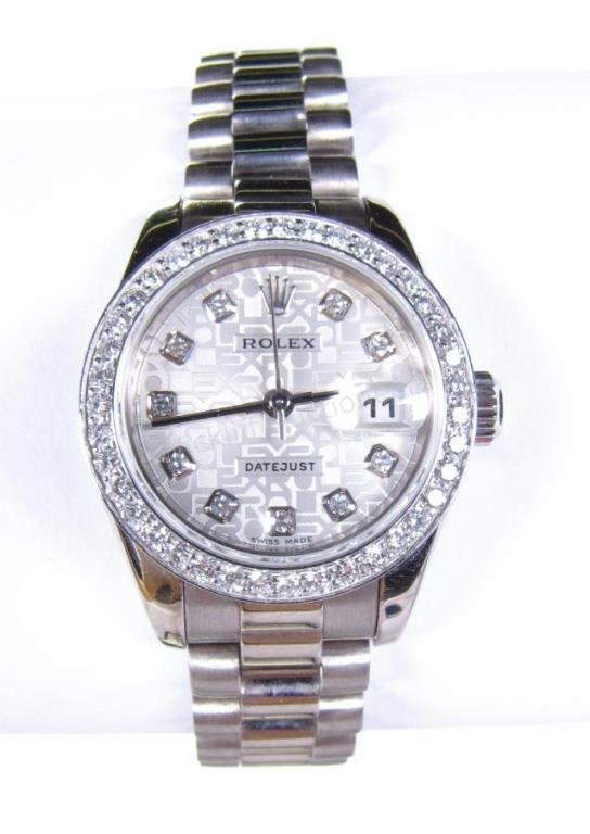 Lady's Diamond, White Gold Rolex President