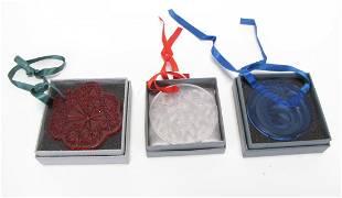 Three Lalique Crystal Ornaments