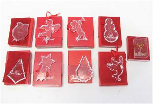 Nine Baccarat Crystal Ornaments