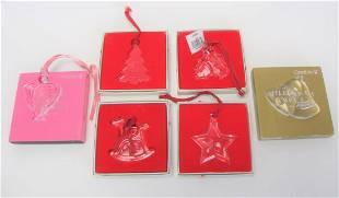 Six Orrefors Crystal Ornaments
