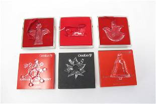 Six Orrefors Crystal Annual Ornaments