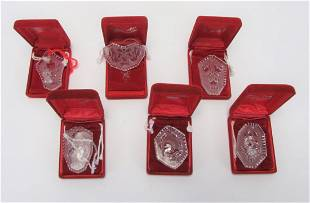 Six Waterford Crystal Annual Ornaments