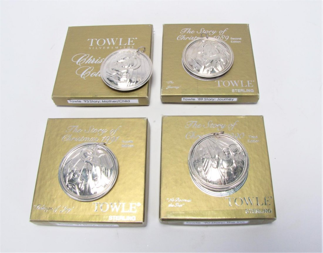 Four Towle Sterling Christmas Collection Ornaments