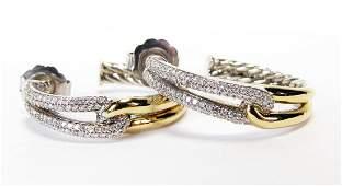 David Yurman Sterling, 18K Diamond Hoop Earrings
