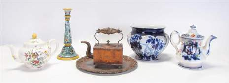 Group of Decorative Copper and Porcelain