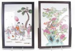 Two Oriental Porcelain Enameled Tiles