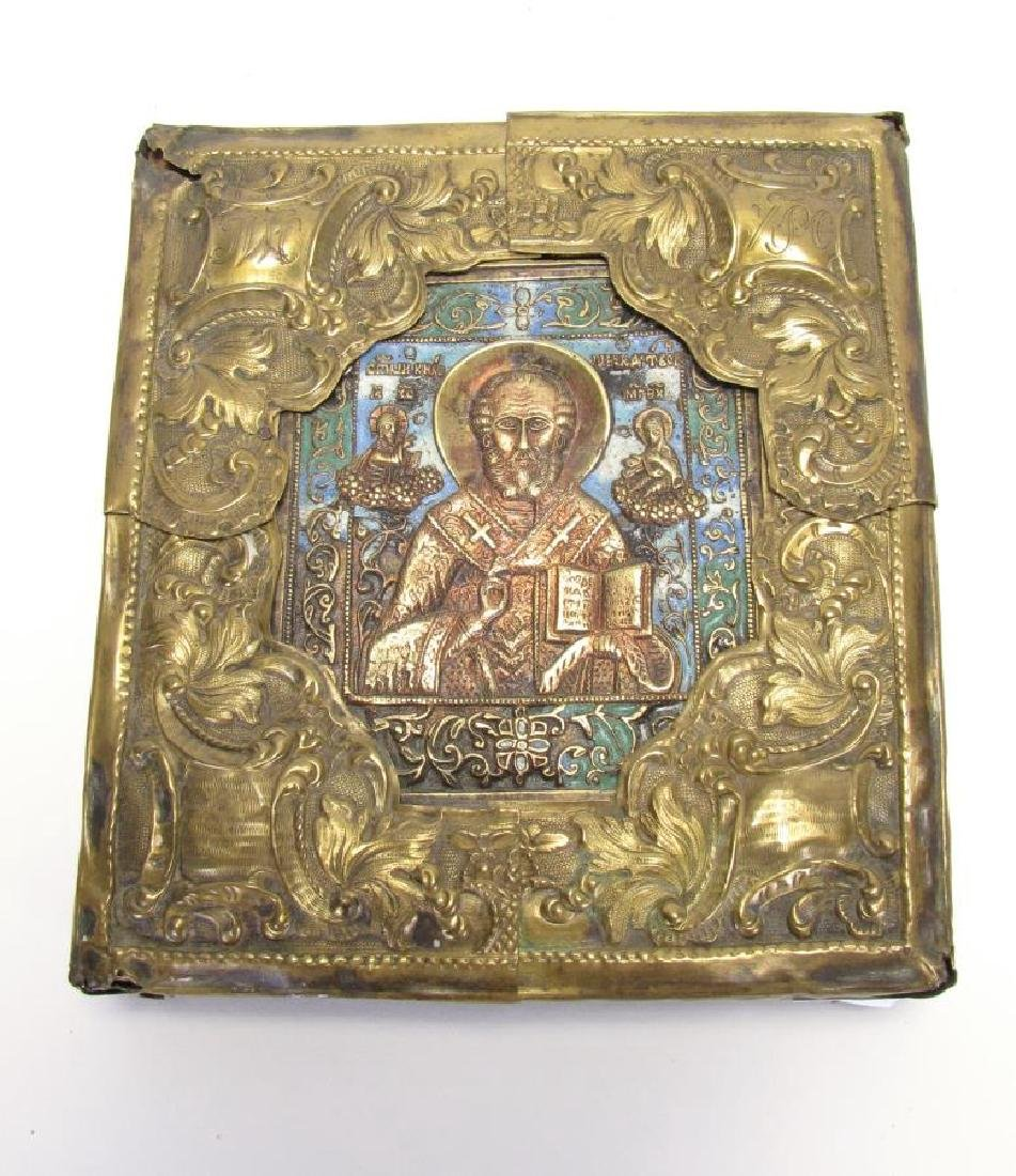 Antique Russian Brass and Enameled Icon