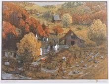 "Gustave Baumann Woodblock, ""Harden Hollow"", Lg Edition"
