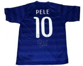 Pele Signed Brazilian Nike Jersey - Poa