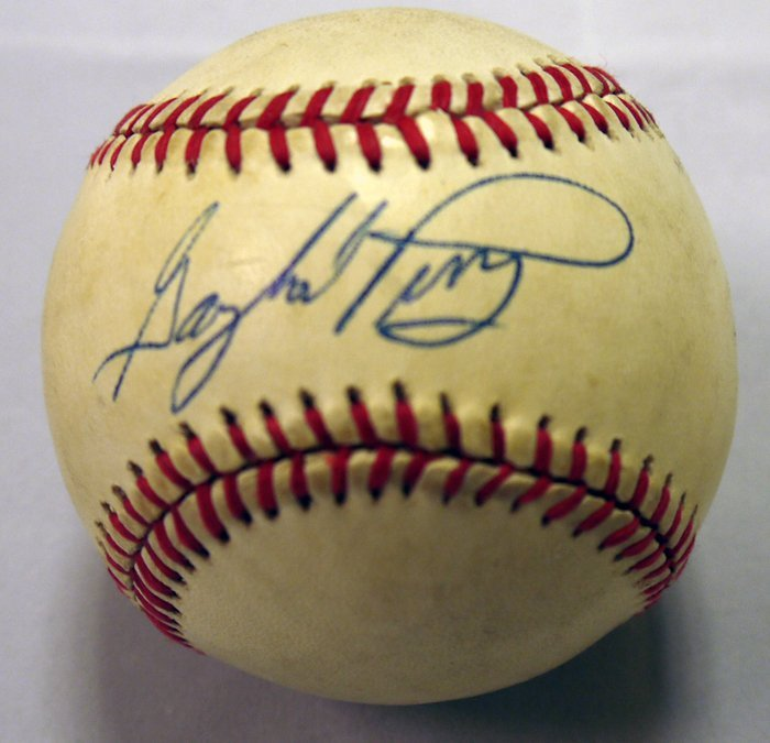 Gaylord Perry Game Used and Signed - Authenticated PSA