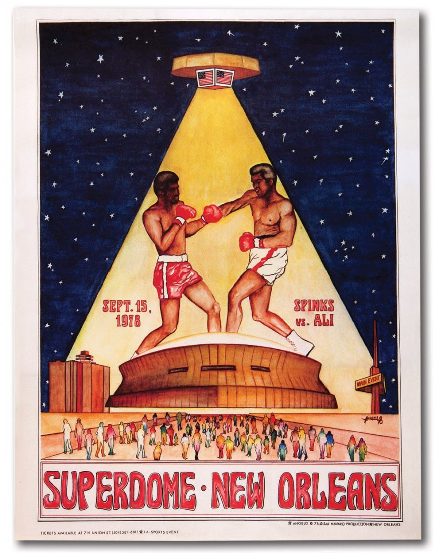 1978 ALI VS. SPINKS LOUISIANA SUPERDOME ON-SITE POSTER