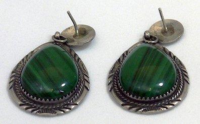 Pair of Earrings 925 Malachite by Will Denetdale